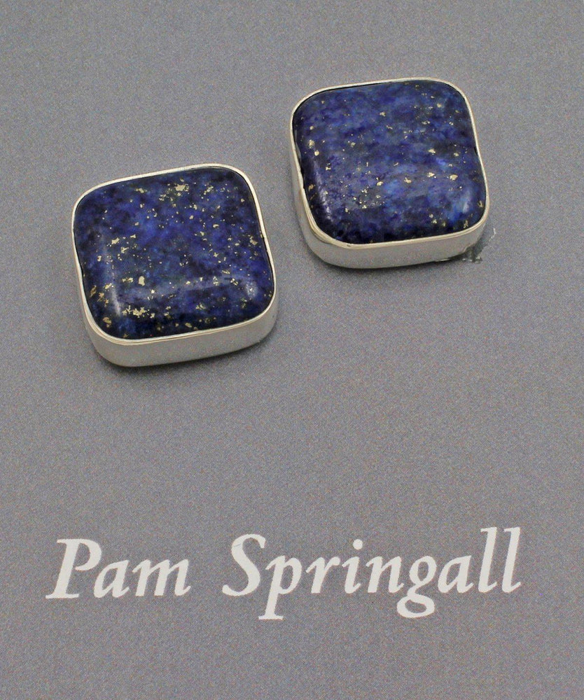 Square Lapis Clip On Earrings-Jewelry-Pam Springall-Sorrel Sky Gallery