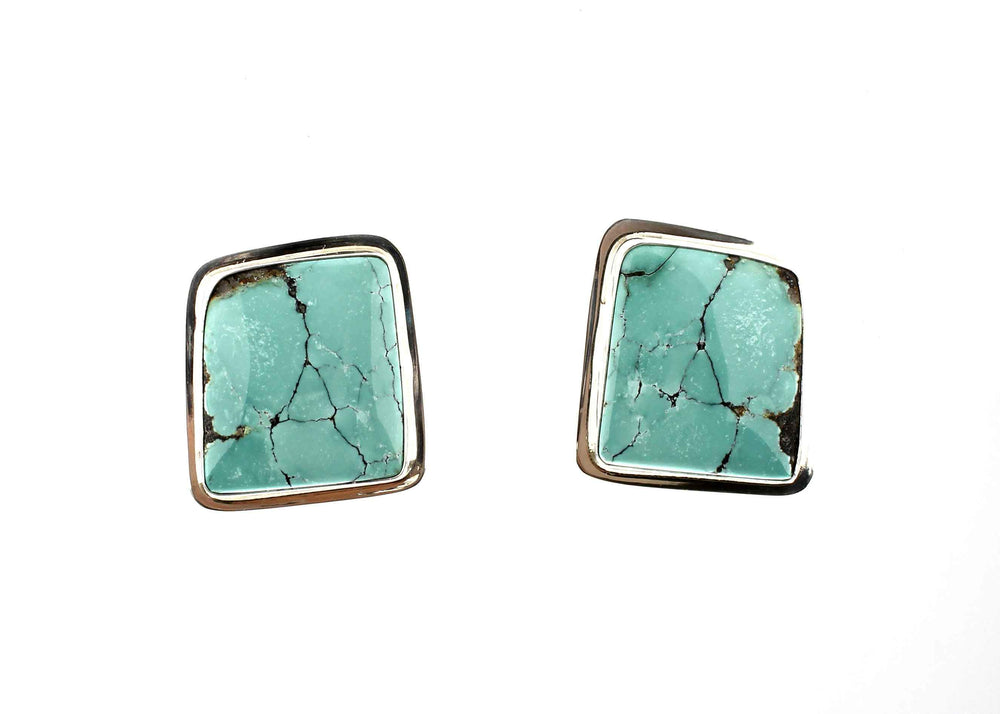 Square Turquoise Clip On Earrings