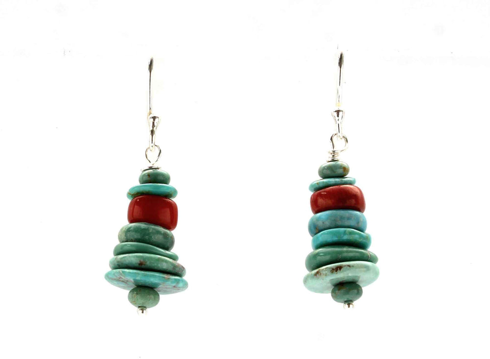Stacked Bamboo Coral And Turquoise Earrings