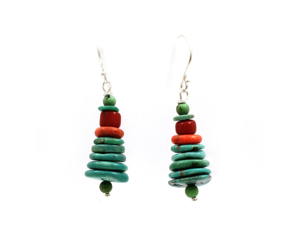Turquoise and Bamboo Coral Stacked Earrings