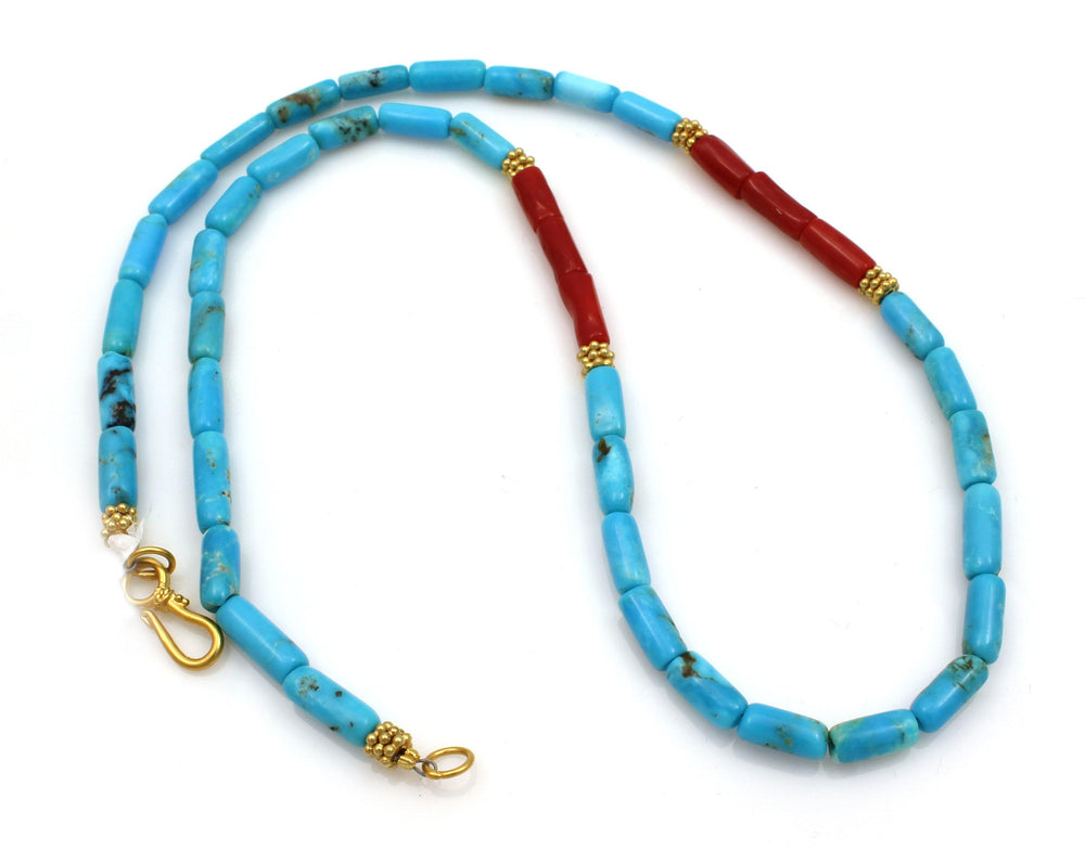 Turquoise and Red Coral Vermeil Necklace
