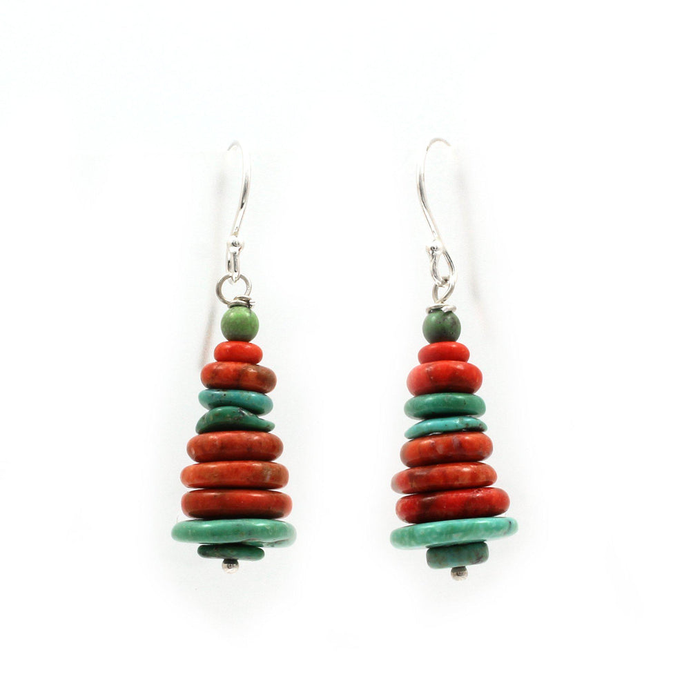 Turquoise and Sponge Coral Stacked Earrings-Jewelry-Pam Springall-Sorrel Sky Gallery