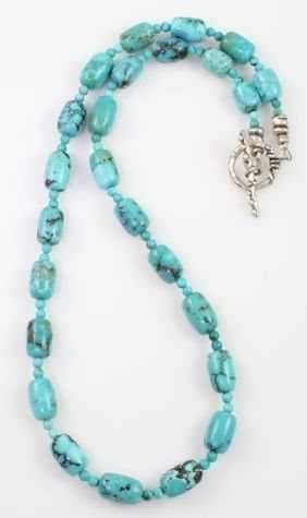 Pam Springall-Sorrel Sky Gallery-Jewelry-Turquoise Barrel And Rondel Necklace