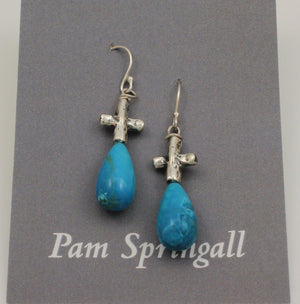 Turquoise Teardrop Earrings-Jewelry-Pam Springall-Sorrel Sky Gallery