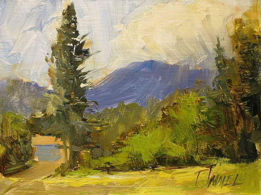Peggy Immel-Blue Door and Mountain-Sorrel Sky Gallery-Painting