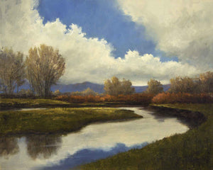 Oil painting of calm river basin and sky reflecting in the water by Peggy Immel