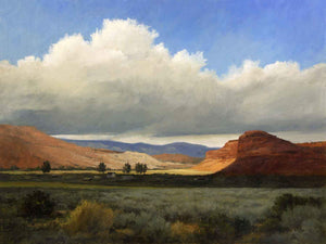 Southern Utah red colored hills and greenery landscape by Peggy Immel