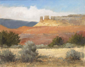 Landscape of red rock formations of ghost ranch in New Mexico