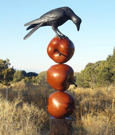 Peter Woytuk-Bird on 3 Apples-Sorrel Sky Gallery-Sculpture