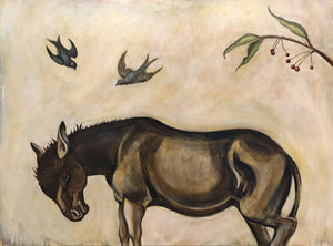 Phyllis Stapler-Sorrel Sky Gallery-Painting-Donkey And Blue Birds