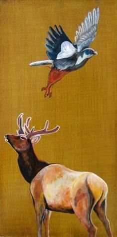 Phyllis Stapler-Sorrel Sky Gallery-Painting-Elk And Falcon