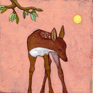 acrylic painging on panel of a Fawn by Phyllis Stapler