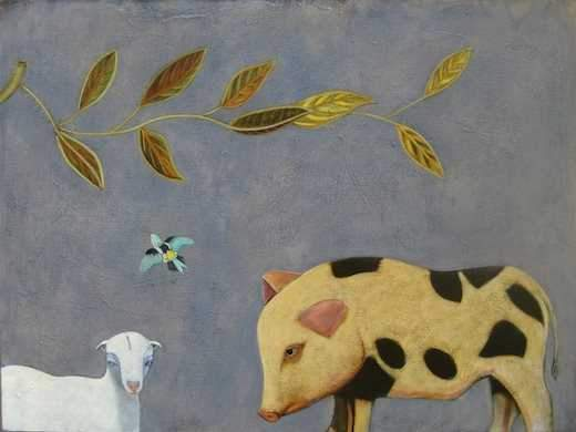 Phyllis Stapler-Sorrel Sky Gallery-Painting-Lucky Pig