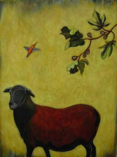 Phyllis Stapler-Sorrel Sky Gallery-Painting-Sheep And Fig Tree