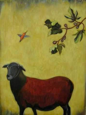 Phyllis Stapler-Sorrel Sky Gallery-Painting-Sheep And Figtree
