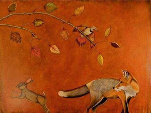 Phyllis Stapler-Sorrel Sky Gallery-Painting-The Fox And The Hare
