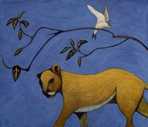 A Giclee print of a young mountain lion on a bright blue backgroud with a branch and a bird. Conteporary art.
