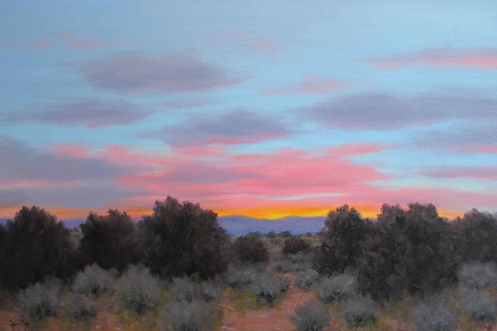 Pink Morning Clouds sunset painting. Stephen Day. Sorrel Sky Gallery