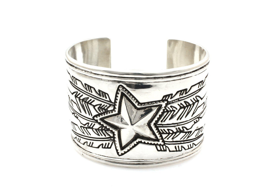 sterling silver cuff bracelet with star and feather design ray tracey cody sanderson collaboration
