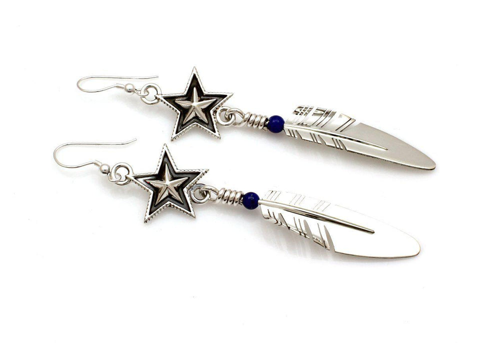 Medium Star Feather Earrings-Jewelry-Ray Tracey & Cody Sanderson-Sorrel Sky Gallery