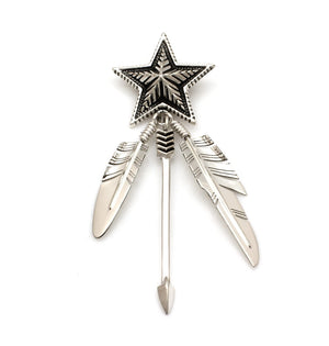 Star and Two Feather Arrow Pendant-Jewelry-Ray Tracey & Cody Sanderson-Sorrel Sky Gallery
