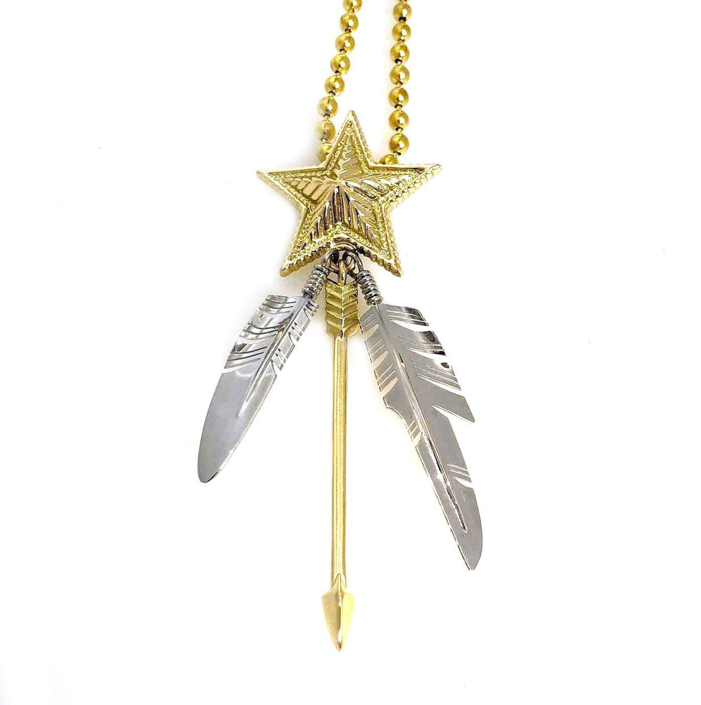 Two Tone Gold Star Two Feather Arrow Pendant