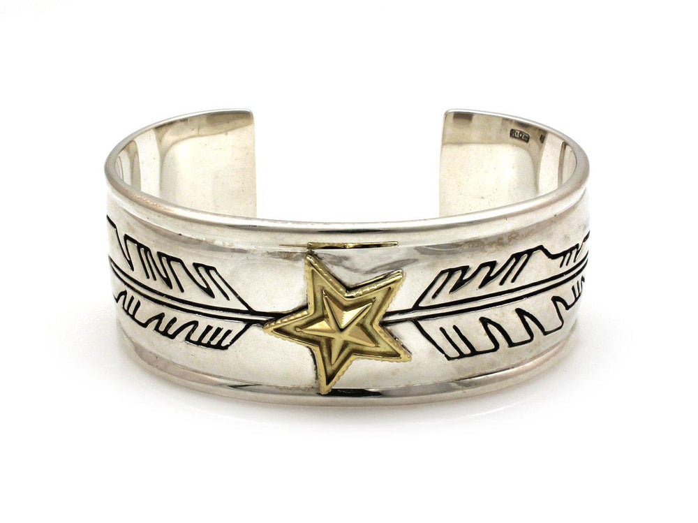Two Tone Star Feather Cuff Bracelet