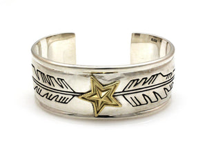 Two Tone Star Feather Cuff Bracelet-Jewelry-Ray Tracey & Cody Sanderson-Sorrel Sky Gallery