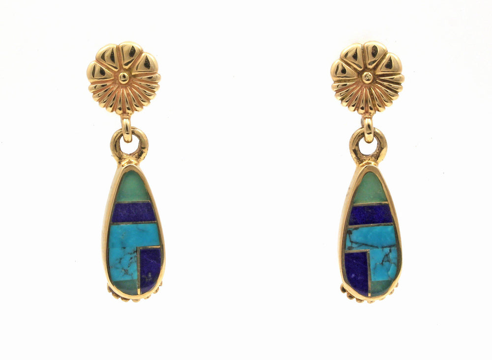 14K Gold Flower Teardrop Earrings