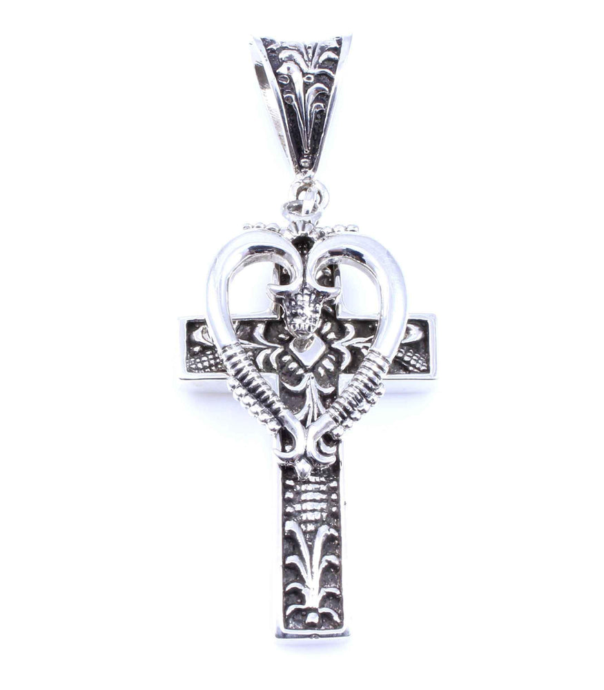 Ray Tracey-All Silver Heart Cross Pendant-Sorrel Sky Gallery-Jewelry