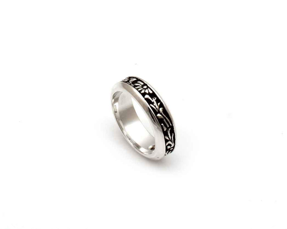 All Silver Narrow Carved Band Ring