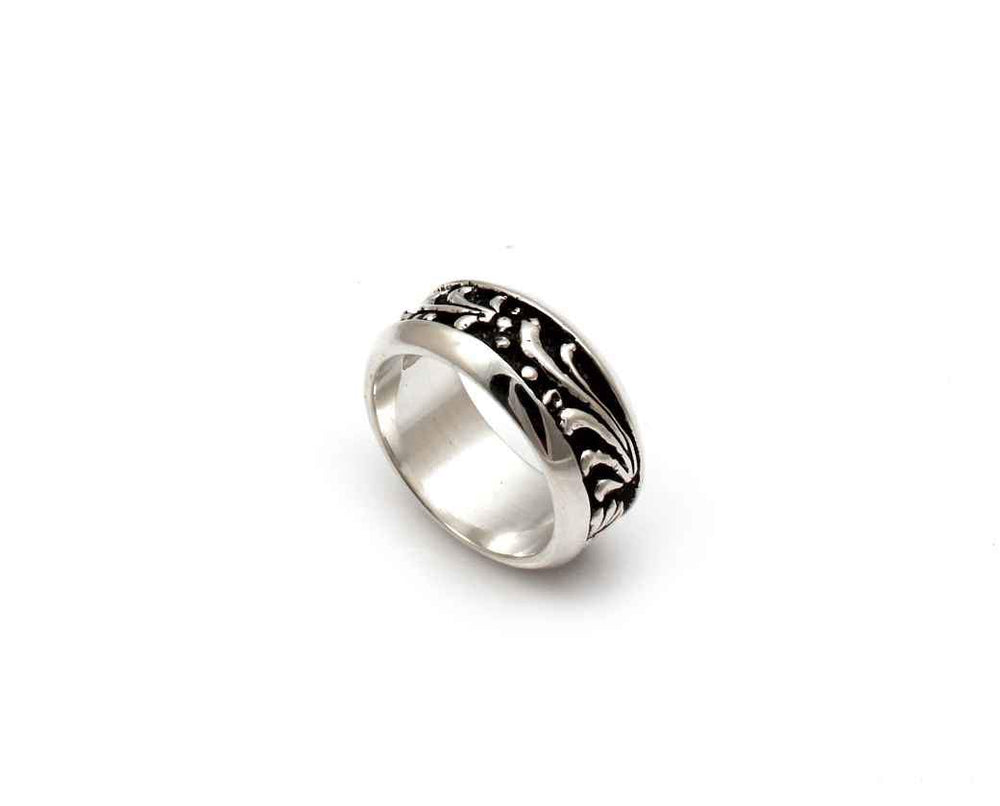 All Silver Wide Carved Band Ring