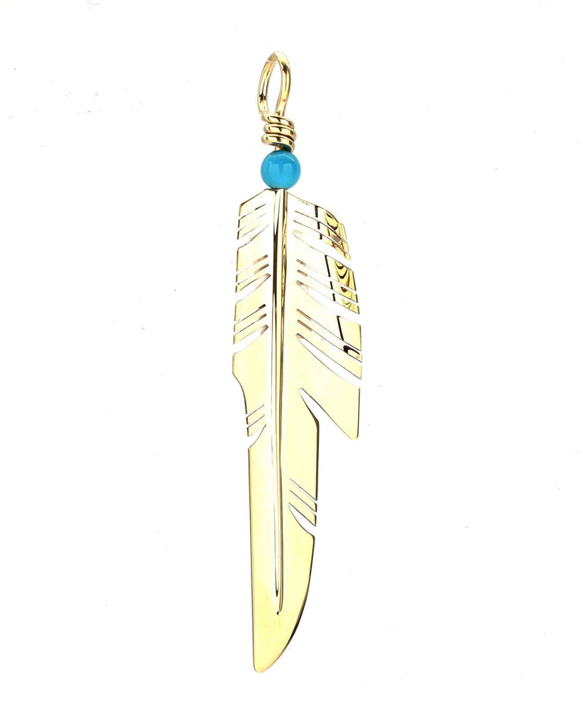 Gold Piked Feather Pendant