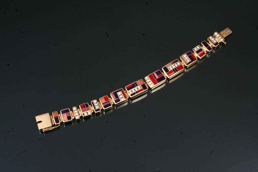 Inlaid Link Bracelet With Diamonds