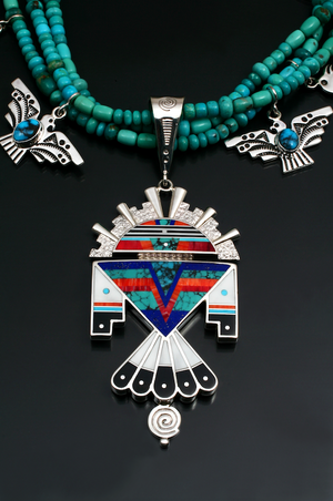 Inlaid Thunderbird Man Necklace-Jewelry-Ray Tracey-Sorrel Sky Gallery