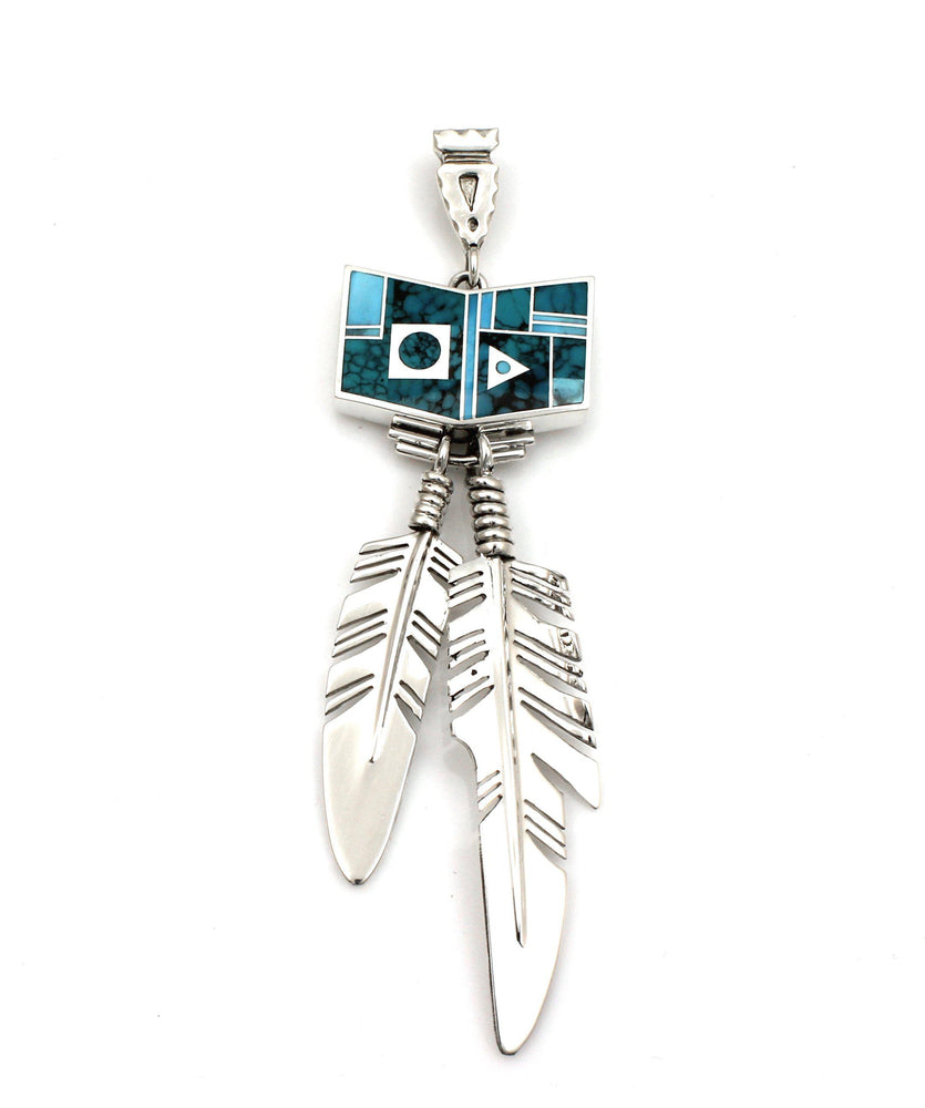 Inlay Fetching Eagle Feather Pendant