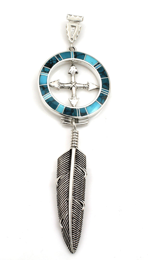 Inlay Medicine Wheel With Plume Eagle Feather Pendant