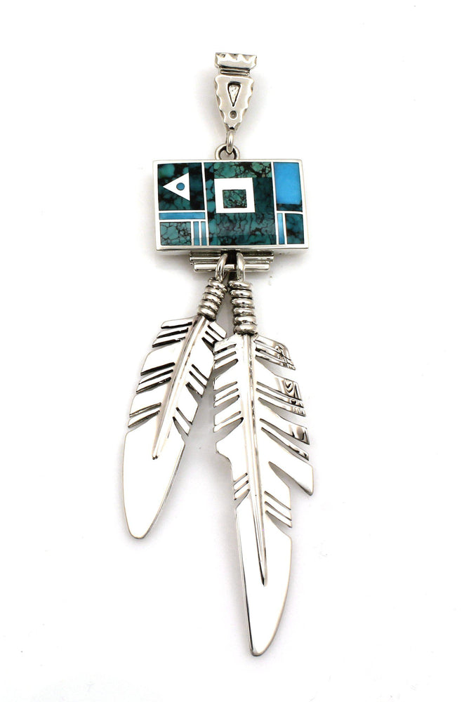 Inlay Rectangle Eagle Feather Pendant-Jewelry-Ray Tracey-Sorrel Sky Gallery