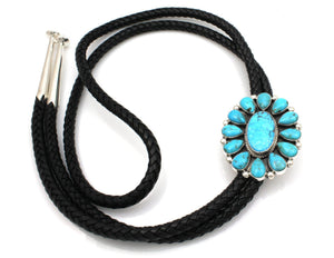 Navajo turquoise cluster bolo tie in sterling silver on black leather cord by Ray Tracey