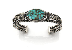 Single stone turquoise cuff bracelet in sterling silver by ray tracey