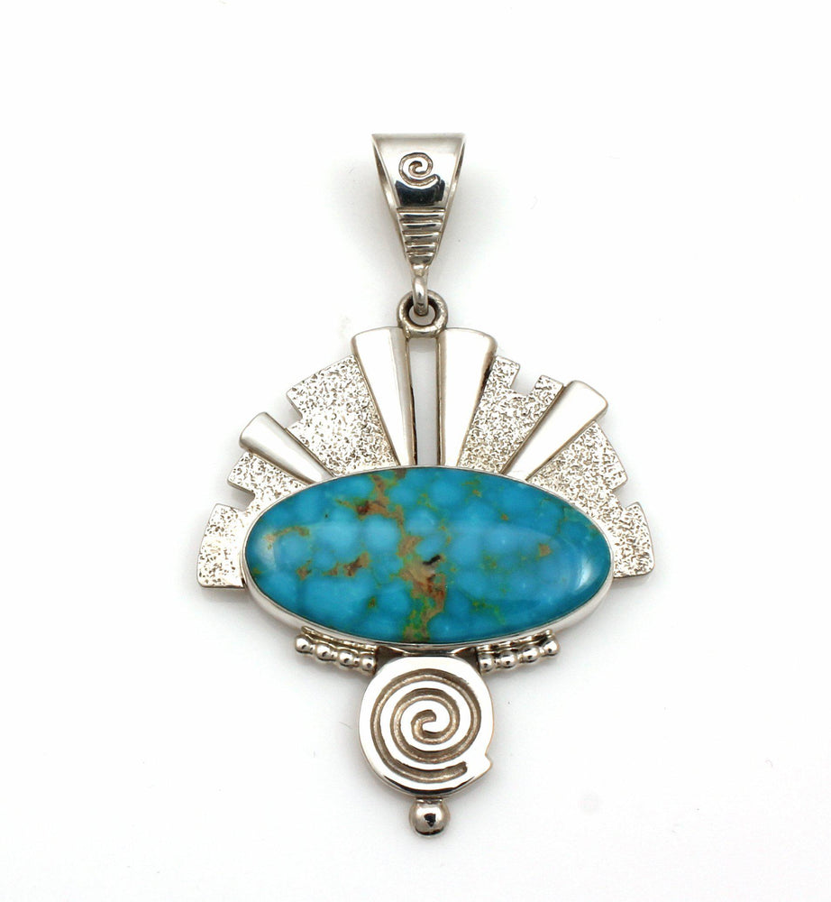 Kingman Turquoise Headdress Pendant-Jewelry-Ray Tracey-Sorrel Sky Gallery