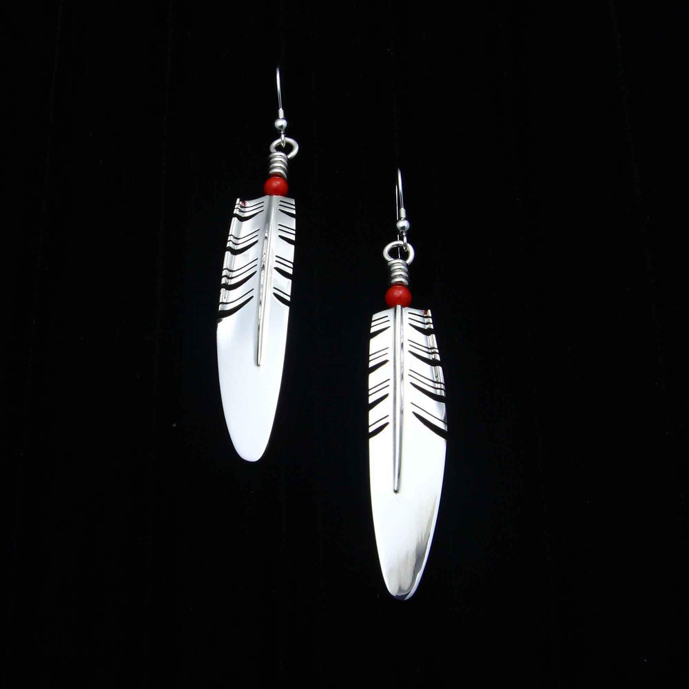 Ray Tracey-Large Feather Earrings-Sorrel Sky Gallery-Jewelry