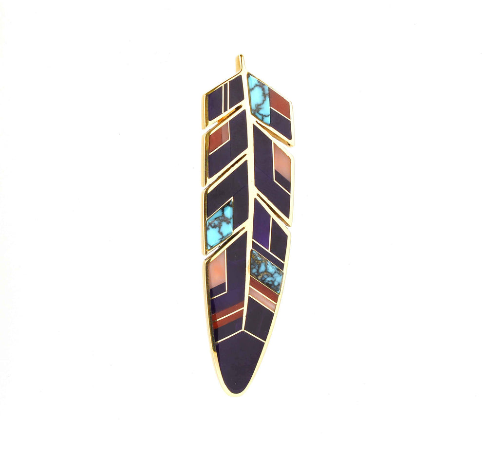 Large Inlaid Feather Pendant