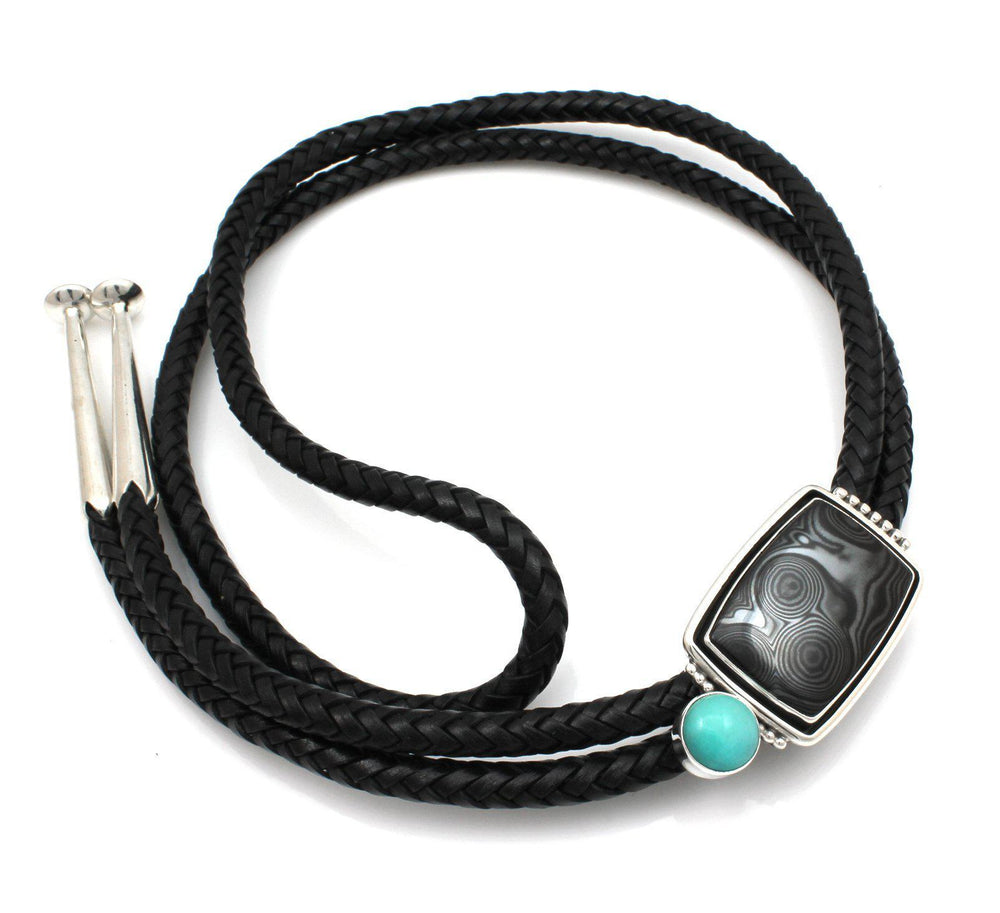 Psilomelane and Amazonite Bolo Tie-Jewelry-Ray Tracey-Sorrel Sky Gallery