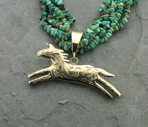 Reversible Inlay Horse Pendant - GOLD-Jewelry-Ray Tracey-Sorrel Sky Gallery