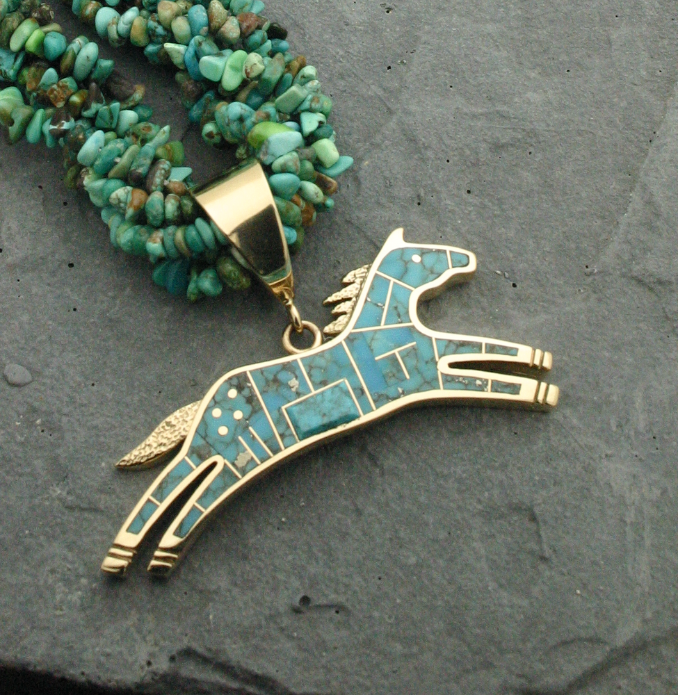 Reversible Inlay Horse Pendant - GOLD