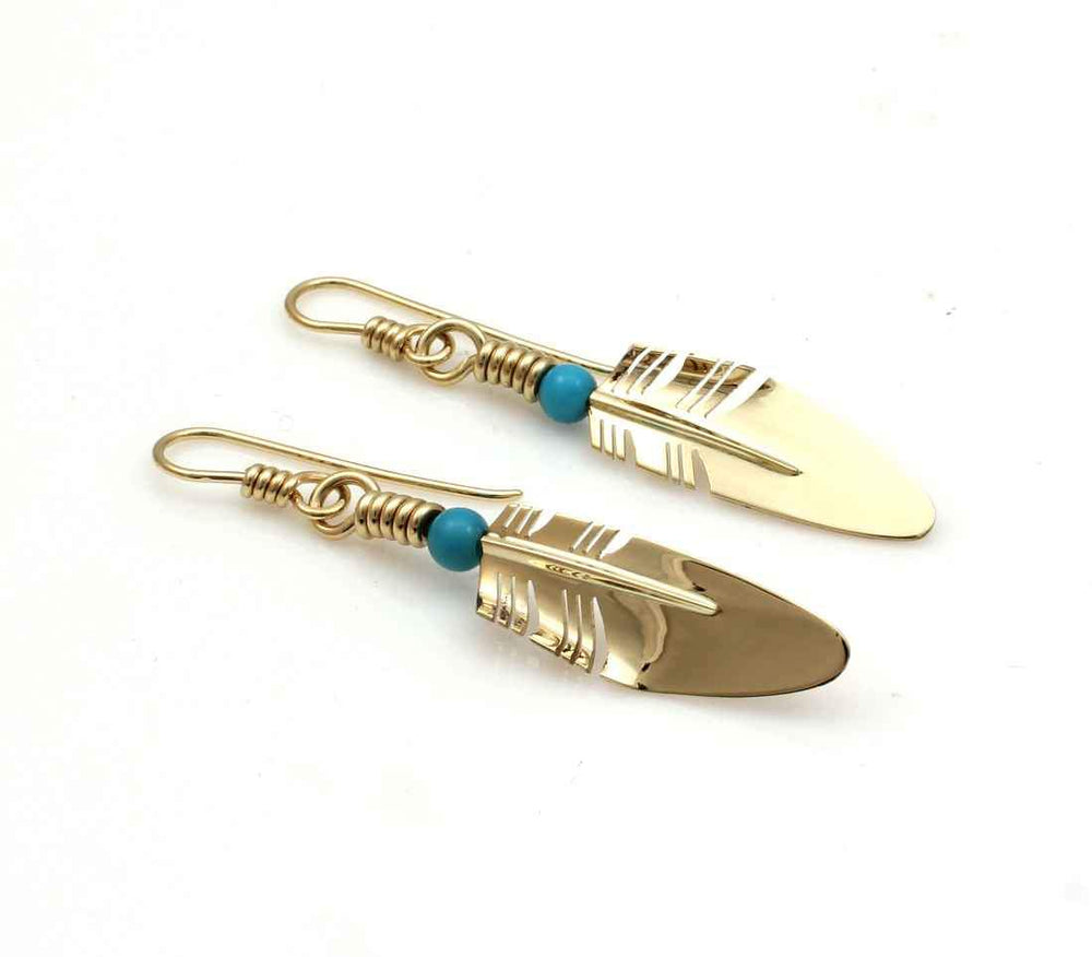 Small Gold Feather Earrings-Jewelry-Ray Tracey-Sorrel Sky Gallery