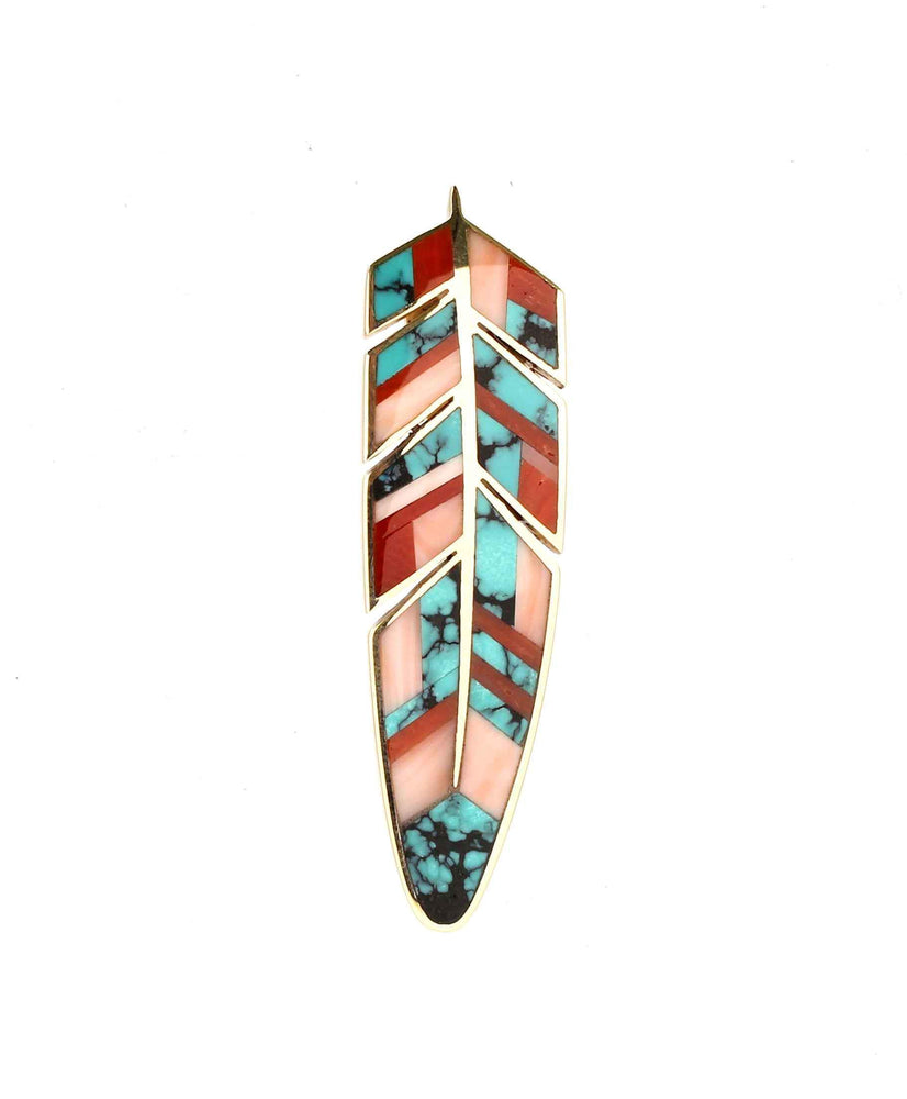 Small Inlaid Feather Pendant