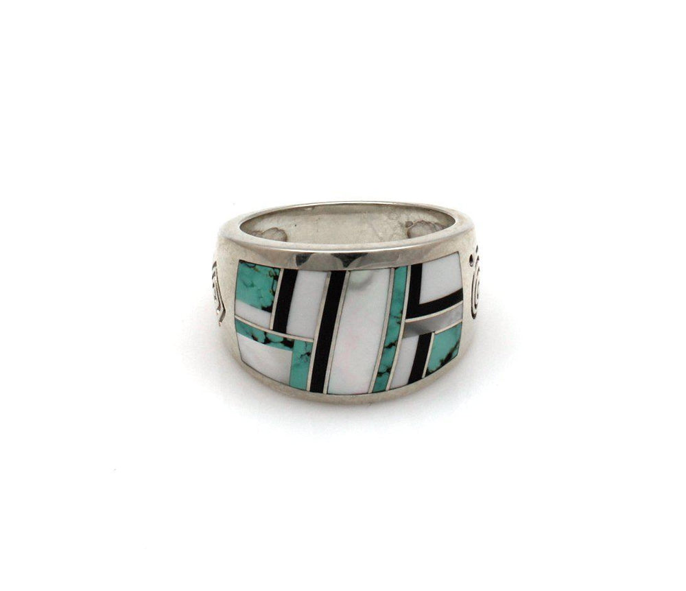 navajo inlay medium width band ring in sterling silver by ray tracey