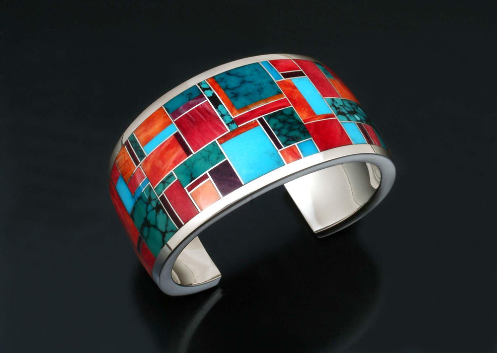 Wide Inlay Cuff Bracelet-Jewelry-Ray Tracey-Sorrel Sky Gallery